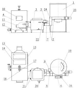 Котел водяной.  Датчик температуры воздуха в шнековом транспортере.  Транспортер шнековый механизма подачи топлива.